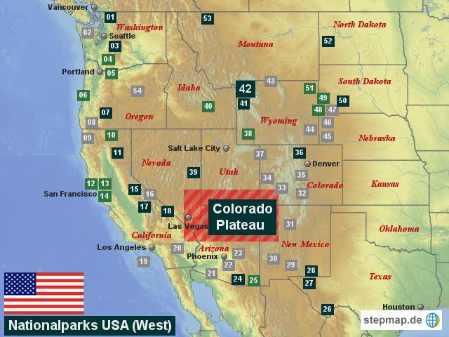 Karte Usa Westen.Horst Auf Reisen Nationalparks